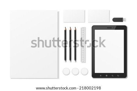 blank corporate identity stationery set over white