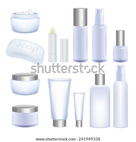 Blank cosmetic tubes and jars isolated on white background. Face and body care products - cream, lip balm, spray, soap.  White mock-ups for design. - stock vector