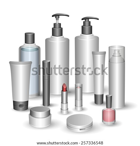 Blank cosmetic tubes isolated on white background. Shampoo, hair conditioner, toner, mist, cream, foundation, foam cleanser, mascara, nail polish, lipstick, compact powder. Place for your text. Vector - stock vector