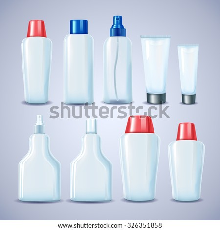 Blank cosmetic tubes. White, red and blue colors. Place for your text. Vector illustration.