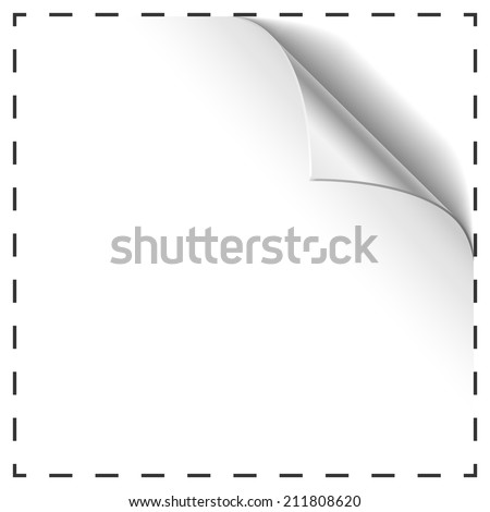 Blank coupon vector template with curled corner.  - stock vector