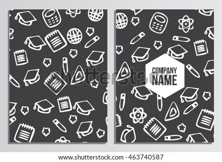 Blank Cover Of Magazine, Book or Brochure. Back to school background. Branding template with back to school pattern