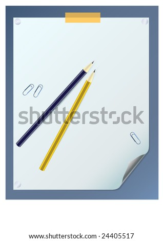 blank curled paper sheet with two pencils