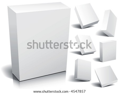 Blank 3d boxes, vector - stock vector