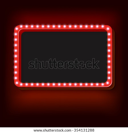 Blank 3d retro frame with lights. red rectangle with blank space for your text advertising message, Vintage frame