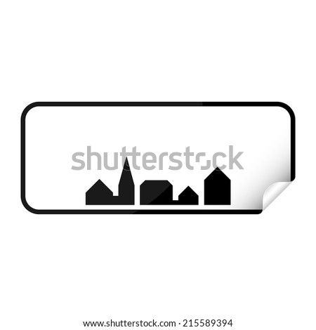 Blank danish city sign sticker with curly corner. - stock vector