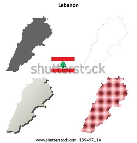 Blank detailed contour maps of Lebanon - vector version - stock vector