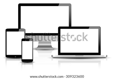 blank devices on white background vector - stock vector