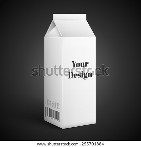 blank drink carton package isolated over black background, excellent vector illustration, EPS 10 - stock vector