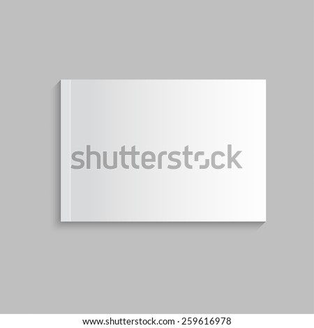 Blank empty magazine, album or book template lying on a gray background. vector - stock vector