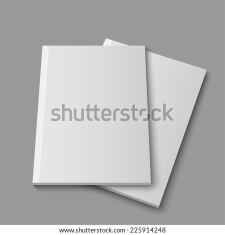 Blank empty magazine or book template lying on a gray background. vector - stock vector