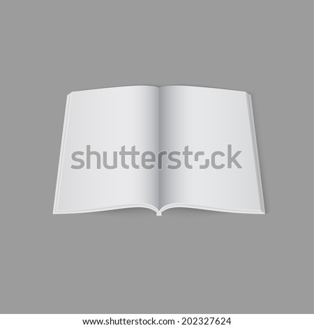 Blank empty open magazine template lying on a gray background. vector