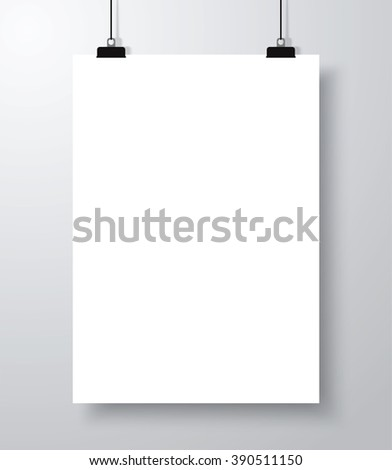 Blank empty poster mockup template with shadow. Vector illustration