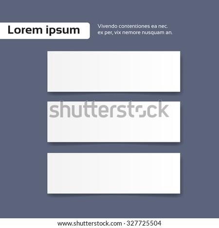 Blank Empty Set Paper Banner Business Card Flyer Vector Illustration - stock vector