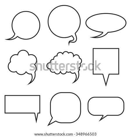 Blank empty speech bubbles set. Collection for infographics vector illustration