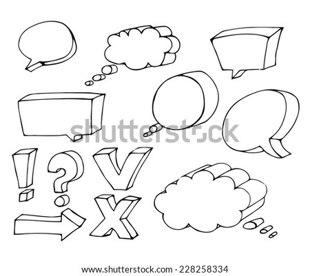 Blank empty white speech bubbles, hand drawn set
