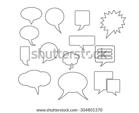Blank empty white speech bubbles Set of comic speech bubbles. Vector image. - stock vector