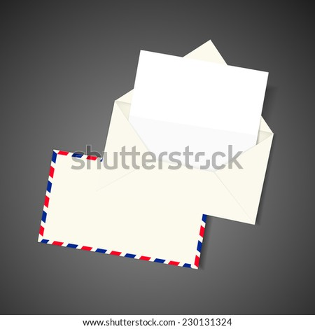 blank envelope and letter isolated on black background - stock vector