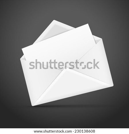 blank envelope and letter template isolated over black background - stock vector