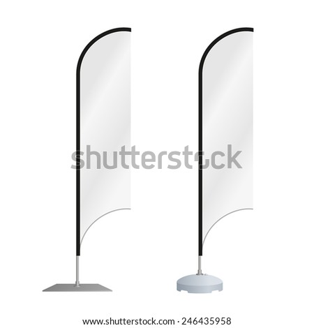 Blank feather advertising beach flag or vertical wind banner. Isolated on white background. Editable EPS vector. - stock vector
