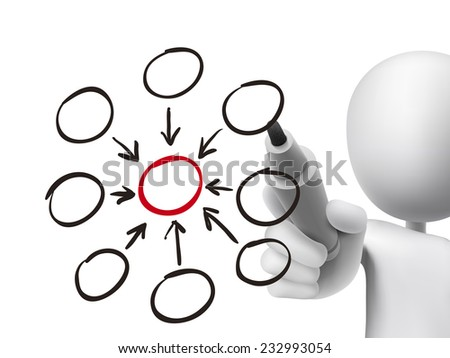 blank flow chart drawn by 3d man over transparent board - stock vector