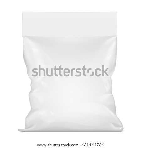 Blank Foil Food Stand Up Pouch Snack Sachet Bag Packaging. Illustration Isolated On White Background. Mock Up Template Ready For Your Design. Vector EPS10