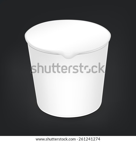blank food cup package isolated on black background - stock vector