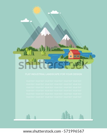 Blank for text. Rural summer, spring landscape. Houses in the mountains among the trees, rest in a village the lake and the river. Flat vector Infographics design