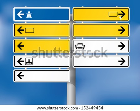 Blank german directional signs. Fully shaded. Background, skeleton, plates, shadows, arrows and symbols on individual layers. - stock vector