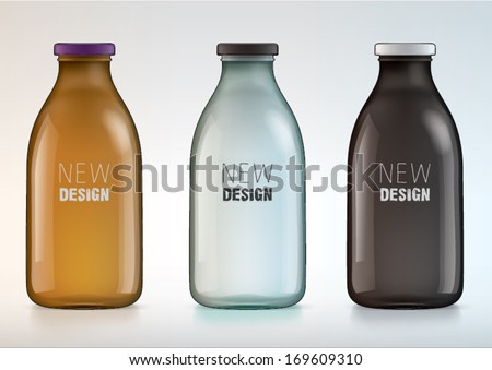 blank glass bottle for new design milk or juice - stock vector