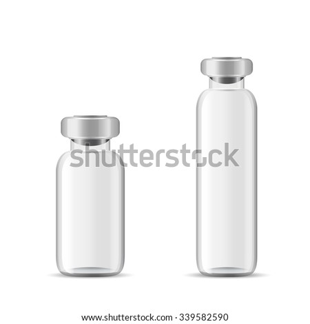 Blank glass medical bottle, 3d realistic vector lab equipment, eps 10 - stock vector
