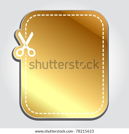 Blank gold advertising coupon cut from sheet of paper - stock vector