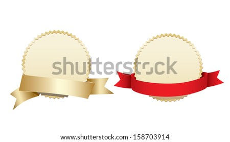 Blank gold award medals with ribbons - stock vector