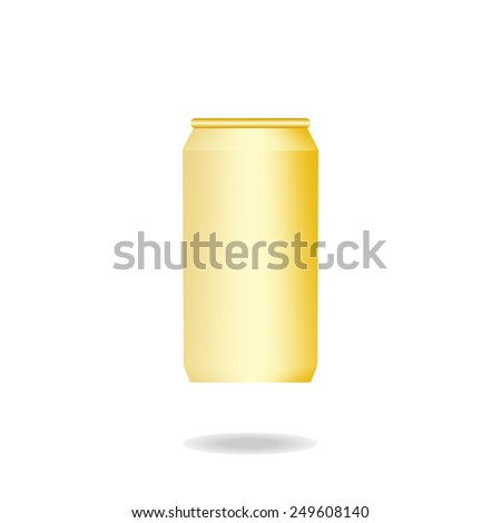 blank gold can on white background vector