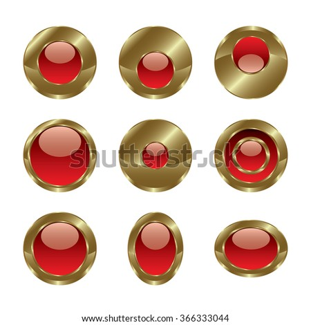Blank gold red web buttons for website or app. Vector - stock vector