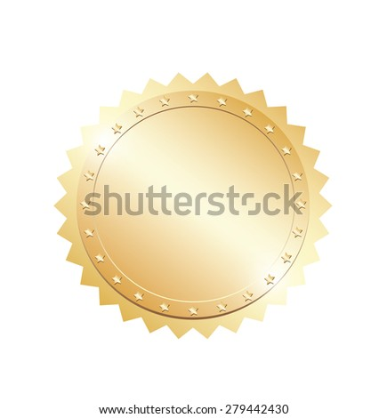 Blank gold token - stock vector