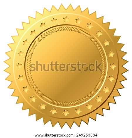Blank golden label vector template isolated on white background. - stock vector