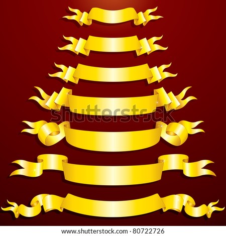 Blank Golden Ribbons, Banners, festive vector clip-art for your design - stock vector