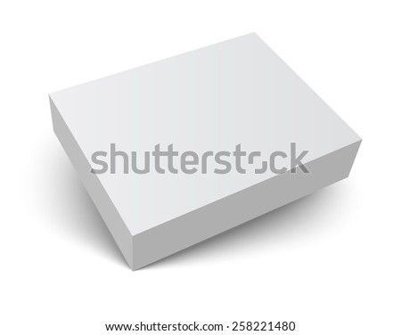 Blank gray box isolated on white. Packaging design 3d template. Vector illustration. - stock vector