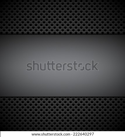 blank gray plate for design on gray grill texture background vector illustration