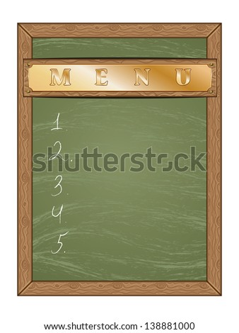 Blank green chalk board with gold table and wooden frame. - stock vector