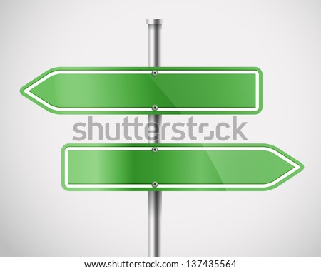 Blank green metal arrow boards. Template for a text - stock vector