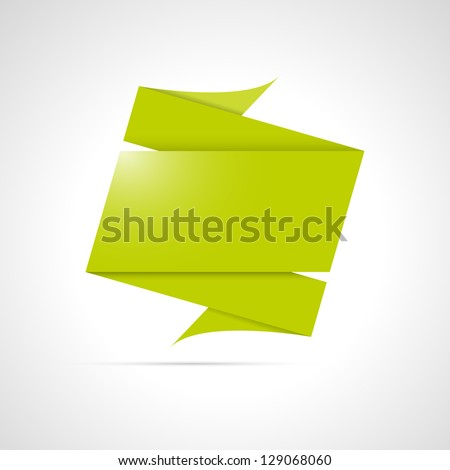 Blank green origami style folded label ready for your text / folded origami label - stock vector
