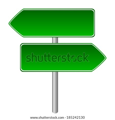 Blank Road Sign Board Blank Green Road Sign on White