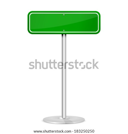 Blank green road sign with stand isolated on a white background, illustration. - stock vector