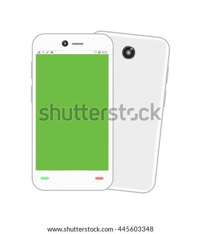 blank green screen smartphone - stock vector