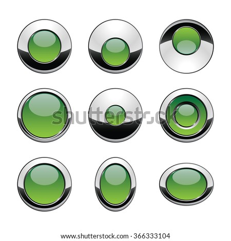 Blank green web buttons for website or app. Vector - stock vector