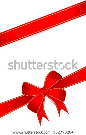 Blank Greeting Card With Red Ribbon at white background  - stock vector