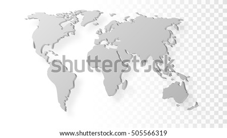 Blank Grey Abstract World Map With Shadow Template On Transparent  Background. EPS10 Vector