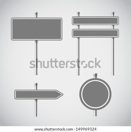 Blank grey metal arrow boards collecion - stock vector
